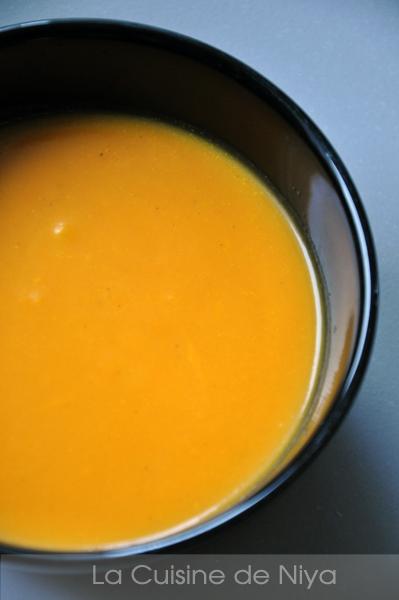 Soupe de potiron au lait de coco